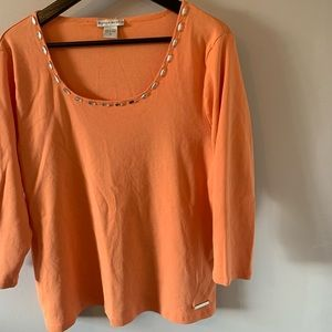 Bianca Nygard / Peach / Cotton / 3/4 Sleeve / Top
